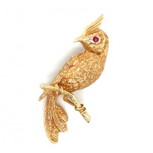 Estate 14kt Yellow Gold Cardinal Brooch With Ruby Eye By Somers-Ernst & Co.