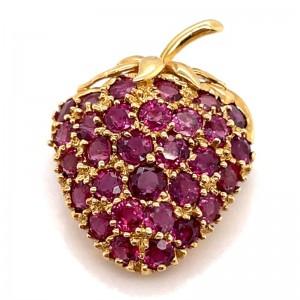 Estate 18kt Yellow Gold Ruby Strawberry Brooch