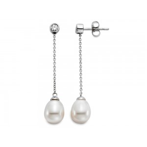 Mastoloni 14kt White Gold Pearl And Diamond Drop Earrings
