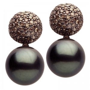 18kt Black Gold, Tahitian Pearl And Champagne Diamond Earrings