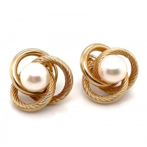Estate 14kt Yellow Gold Pearl Love Knot Earrings