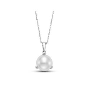 Mastoloni 14kt White Gold Button Pearl Pendant Necklace