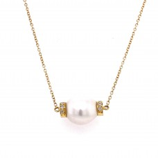 18kt Yellow Gold South Sea Pearl And Diamond Necklace