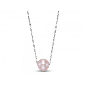"""Mastoloni 14kt Yellow Gold """"floating"""" Pink Freshwater Pearl Necklace"""