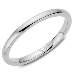 14kt White Gold 2mm Domed Comfort Fit Traditional Wedding Band
