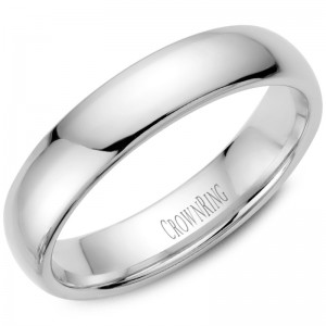 14kt White Gold 5mm Domed Comfort Fit Traditional Wedding Band
