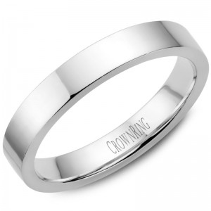 14kt White Gold 4mm Flat Comfort Fit Traditional Wedding Band