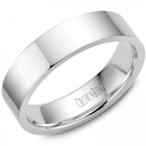 14kt White Gold 6mm Flat Comfort Fit Traditional Wedding Band