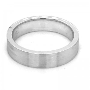14kt White Gold 4mm Flat Comfort Fit Traditional Wedding Band With Sandpaper Finish
