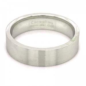 14kt White Gold 6mm Flat Comfort Fit Traditional Wedding Band With Sandpaper Finish