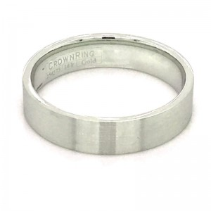 14kt White Gold 5mm Lightweight Flat Comfort Fit Traditional Wedding Band With Sandpaper Finish