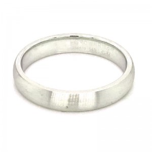 14kt White Gold 4mm Domed Comfort Fit Traditional Wedding Band With Sandpaper Finish