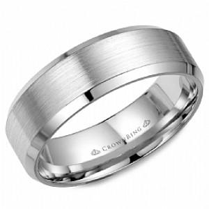 14kt White Gold Beveled-edge 7mm Wedding Band