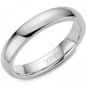 14kt White Gold 4mm Domed Comfort Fit Traditional Wedding Band
