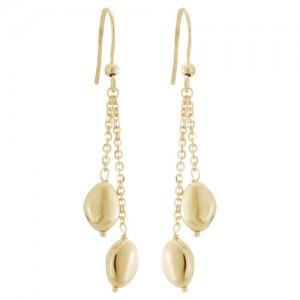 14kt Yellow Gold Double Pebble Dangle Earrings