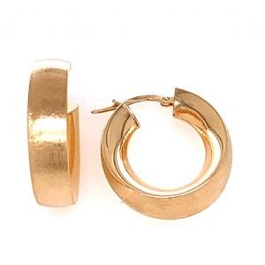 Estate 14K Yellow Gold Wide Brushed Hoop Earrings