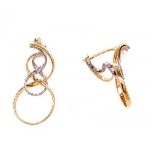 Estate 14K Two-tone Twist Wire Drop Earrings