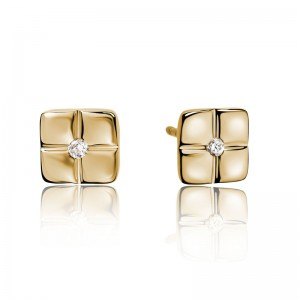 """14kt Yellow Gold """"Barcelona"""" Diamond-accented Earrings"""