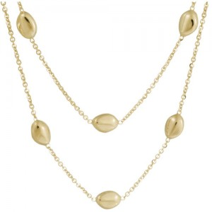 14k Yellow Gold Double Strand Station Necklace
