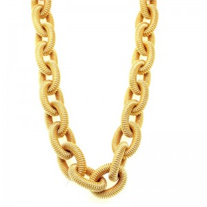 Estate 18kt Yellow Gold Oval Rolo Link Necklace