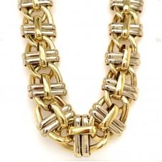 Estate 18kt Two-tone Gold Fancy Link Necklace.