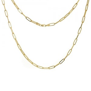"""14kt Yellow Gold 3.85mm """"paperclip"""" Link Necklace"""