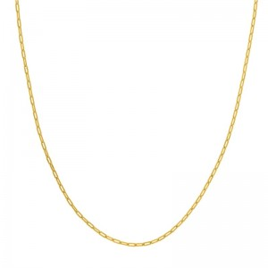 """14kt Yellow Gold 2.10mm """"paperclip"""" Link Necklace"""