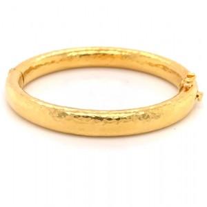 Estate 18K Yellow Gold Hammered Bangle Bracelet