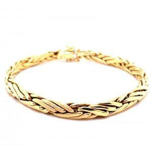 Estate 18kt Yellow Gold Wheat Bracelet