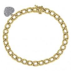 Gabriel & Co. 14kt Yellow Gold Bracelet With Pave Diamond Heart Charm