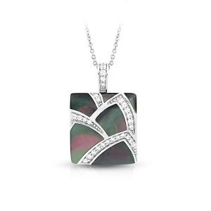 """Belle Etoile Sterling Silver And Black Mother-of-pearl """"Sirena"""" Pendant"""