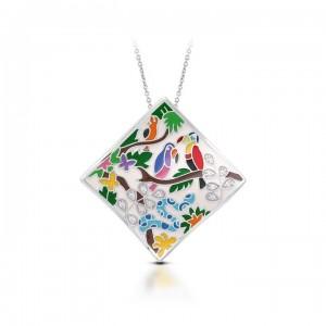 "Belle Etoile Sterling Silver And Enamel ""Tropical Rainforest"" Pendant"