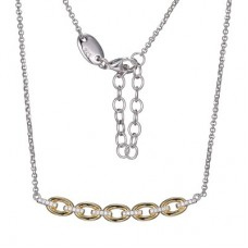 Charles Garnier Two-tone Sterling Silver Links Station Necklace