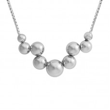 Sterling Silver Zig-zag Bead Necklace