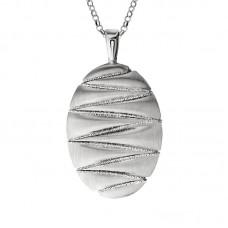 """Sterling Silver Oval """"zig Zag"""" Necklace"""