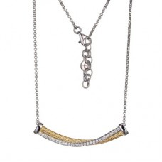 Charles Garnier Two-tone Sterling Silver Cross-over Bar Necklace