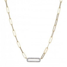 """Charles Garnier 18kt Yellow Gold Over Sterling Silver """"paperclip"""" Link Necklace With CZ Accents"""