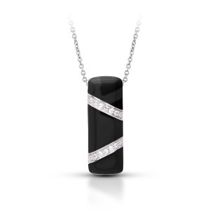 "Belle Etoile Sterling Silver And Black Enamel ""Glissando"" Pendant Necklace"