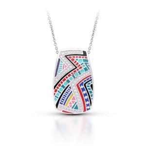 "Belle Etoile Sterling Silver And Enamel ""Carnival"" Pendant Necklace"