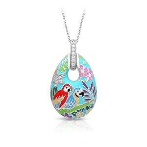 """Belle Etoile Sterling Silver And Enamel """"Macaw"""" Pendant Necklace"""