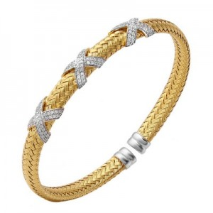 """Charles Garnier 18kt Yellow Gold Over Sterling Silver """"Asolo"""" Cuff Bracelet"""