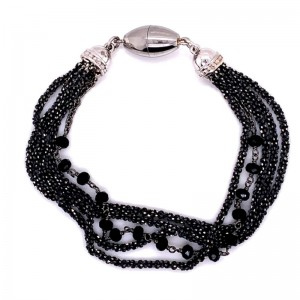 """Peter Storm """"Tessuto Colori"""" Black Rhodium Finish Sterling Silver And Black Spinel """"Onyx"""" Bracelet"""