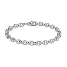 Sterling Silver Oval Rolo Link Bracelet