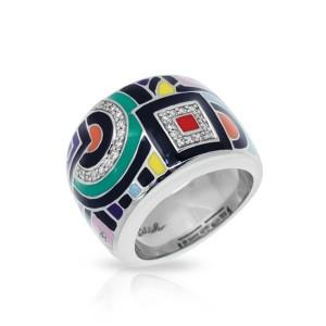 "Belle Etoile Sterling Silver And Enamel ""Geometrica"" Ring"