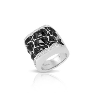 """Belle Etoile Sterling Silver And Enamel """"Coccodrillo"""" Ring"""