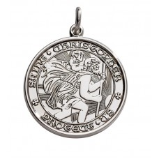 """Sterling Silver Large (1"""") Round St. Christopher's Medal Charm"""