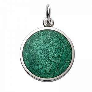 """Sterling Silver Medium (3/4"""") Round St. Christopher's Medal Charm With """"jade Green"""" Enamel"""