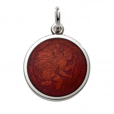"""Sterling Silver Medium (3/4"""") Round St. Christopher's Medal Charm With Deep Red Enamel"""