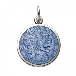 """Sterling Silver Medium (3/4"""") Round St. Christopher's Medal Charm With French Blue Enamel"""