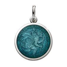 "Sterling Silver Medium (3/4"") Round St. Christopher's Medal Charm With Dark Aqua Enamel"
